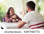 young pretty woman is laughing... | Shutterstock . vector #439748773