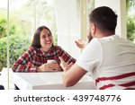 young smiling woman is having... | Shutterstock . vector #439748776