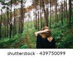freedom traveler woman standing ... | Shutterstock . vector #439750099