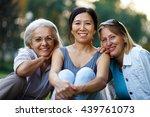 three mature ladies smiling    Shutterstock . vector #439761073