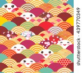 seamless pattern kawaii with... | Shutterstock .eps vector #439770349