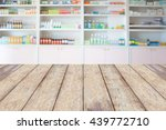pharmacy wood counter with blur ... | Shutterstock . vector #439772710