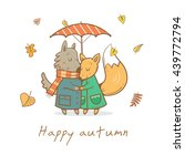 card with cute cartoon wolf and ... | Shutterstock .eps vector #439772794