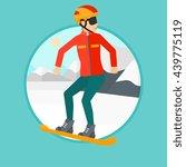sportswoman snowboarding on the ...   Shutterstock .eps vector #439775119