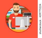 young hipster cashier with the... | Shutterstock .eps vector #439775224