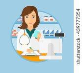 female pharmacist writing on... | Shutterstock .eps vector #439777354