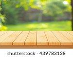 wood floor with blurred trees... | Shutterstock . vector #439783138