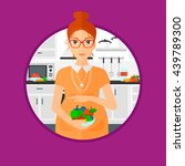 Pregnant woman holding bowl with vegetables and fruits in kitchen. Pregnant woman cooking healthy food. Concept of healthy nutrition during pregnancy. Vector flat design illustration in the circle.