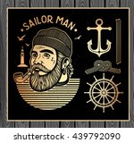portrait of bearded sailor with ... | Shutterstock .eps vector #439792090