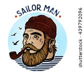 portrait of bearded sailor with ... | Shutterstock .eps vector #439792096