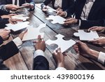 business people and puzzle on... | Shutterstock . vector #439800196