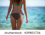 young adult woman in bikini... | Shutterstock . vector #439801726