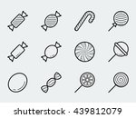 candy vector icon set in thin... | Shutterstock .eps vector #439812079