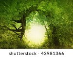 Door to the fairy land. Fantasy landscape - stock photo