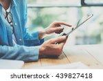 work process modern loft... | Shutterstock . vector #439827418