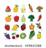 vector set of mix fruit and... | Shutterstock .eps vector #439831588