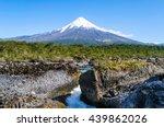 petrohue waterfalls and volcano ... | Shutterstock . vector #439862026