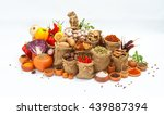 group of indian spices and... | Shutterstock . vector #439887394