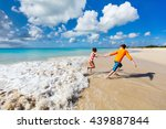 kids having fun at tropical... | Shutterstock . vector #439887844