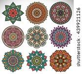 flower mandalas. vintage... | Shutterstock . vector #439921126