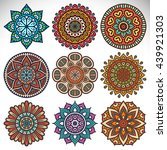 flower mandalas. vintage... | Shutterstock . vector #439921303