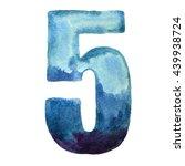 watercolor decorative number 5. ... | Shutterstock . vector #439938724