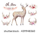 set of watercolor floral boho... | Shutterstock . vector #439948360