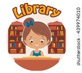 little girl reading a book in... | Shutterstock .eps vector #439974010
