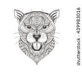 hand drawn panther with ethnic... | Shutterstock .eps vector #439983016