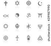 world religions   bw icons | Shutterstock .eps vector #439987990