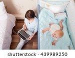 Kid Playing In Bed  Mum Pajama...