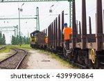 cargo train leaving the station ... | Shutterstock . vector #439990864