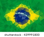 Flag Of Brazil As Polygonal...