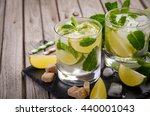 fresh mojito cocktail with lime ... | Shutterstock . vector #440001043