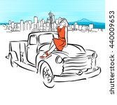 pickup and girl in front of... | Shutterstock .eps vector #440009653