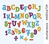Vector colorful cartoon latin Font. Isolated Letters and Numbers