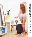back view of fat woman posing... | Shutterstock . vector #440023984