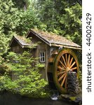 Rustic Watermill With Wheel...