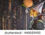 set of black burgers with meat... | Shutterstock . vector #440035450