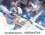woman touching screen... | Shutterstock . vector #440064769