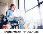 hipster girl use laptop huge... | Shutterstock . vector #440064988