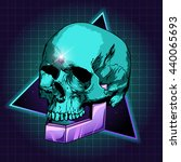 sci fi illustration of skull.... | Shutterstock . vector #440065693