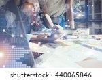 woman touching screen...   Shutterstock . vector #440065846