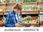 young man in the supermarket ...   Shutterstock . vector #440093278