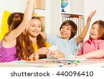 kids giving hive five sitting... | Shutterstock . vector #440096410
