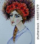 ukrainian woman. traditional... | Shutterstock . vector #440097379
