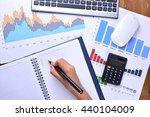 hand writing on blank notebook... | Shutterstock . vector #440104009