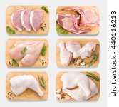 mockup raw chicken and pork on... | Shutterstock . vector #440116213