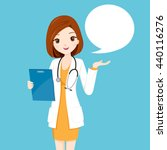woman doctor holding clipboard... | Shutterstock .eps vector #440116276