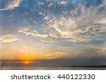 watercolor of sky with sea in... | Shutterstock . vector #440122330